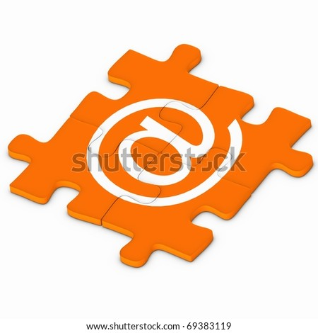 Puzzle pieces and at symbol - stock photo