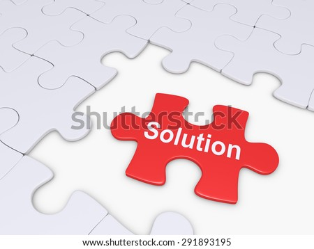 Puzzle pieces and one with the Solution word on it - stock photo