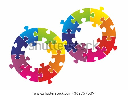 puzzle pieces arranged as a circle or symbol