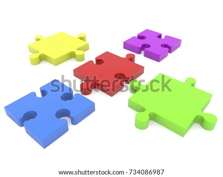 puzzle pieces before connecting on white 3 d stock illustration