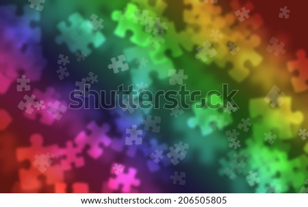 puzzle pieces Bokeh effect used as a blurred background - stock photo