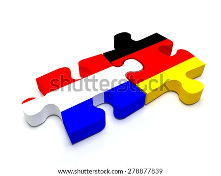Puzzle pieces connect a piece containing the dutch flag and the german flag.