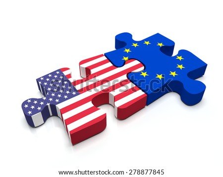 Puzzle pieces connect a piece containing the European Union Flag and the US flag. - stock photo