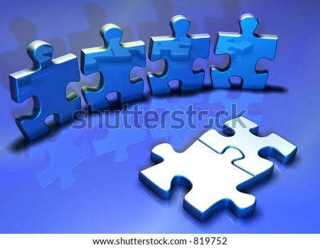 Puzzle pieces - 3d render