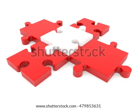 Puzzle pieces in blue with one red missing between.3d illustration.