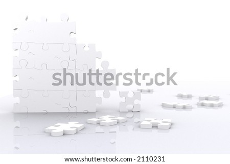 puzzle pieces made in 3d with high detail and high resolution over white - stock photo