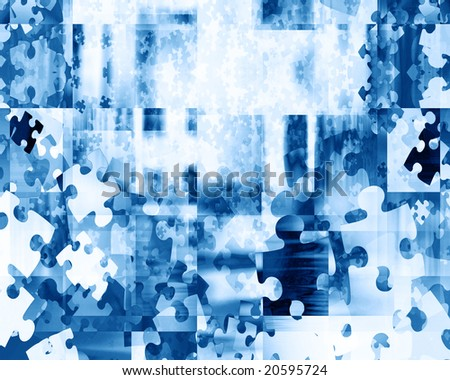 puzzle pieces on a soft blue background - stock photo