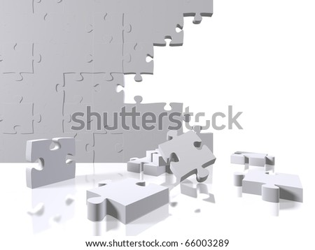 Puzzle pieces on a white background - stock photo