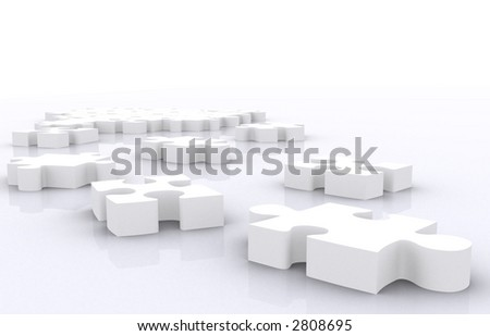 puzzle pieces on the floor - made in 3d - stock photo