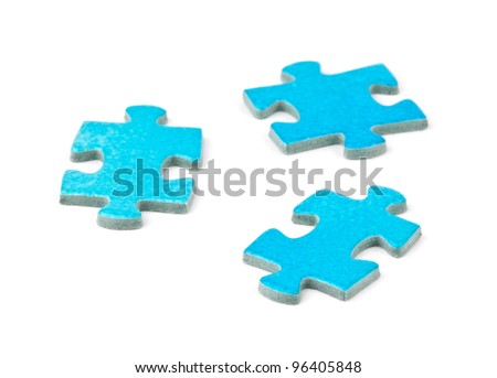 Puzzle pieces on white background