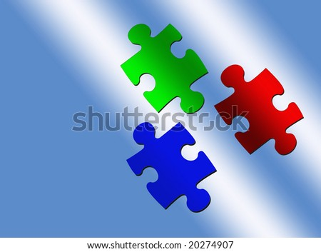 Puzzle Pieces, Red, Green, Blue - stock photo