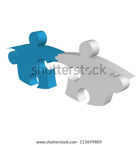Puzzle pieces shaking hands and connecting metaphor - stock photo