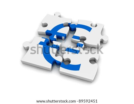 puzzle pieces that form the symbol of euro currency (3d render) - stock photo
