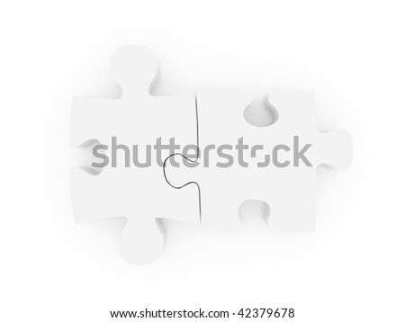 Puzzle pieces together isolated over a white background on 3D illustration