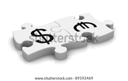 puzzle pieces with the symbols of euro and dollar currency (3d render) - stock photo