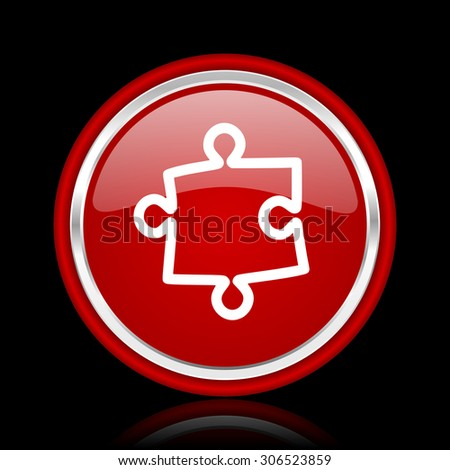 puzzle red glossy web icon chrome design on black background with reflection   - stock photo