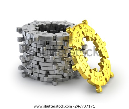 puzzle ring - stock photo