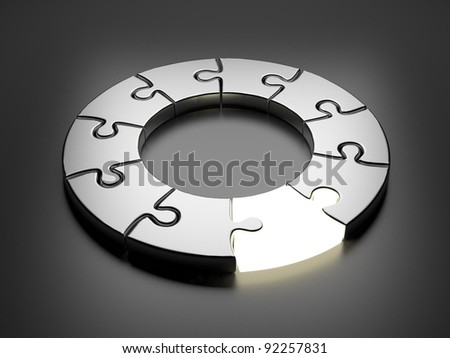 Puzzle ring 3D. Innovation concept. On gray background - stock photo