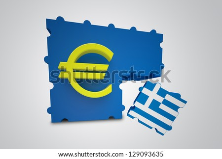 Puzzle showing Greece removed from the Euro Currency Union - stock photo