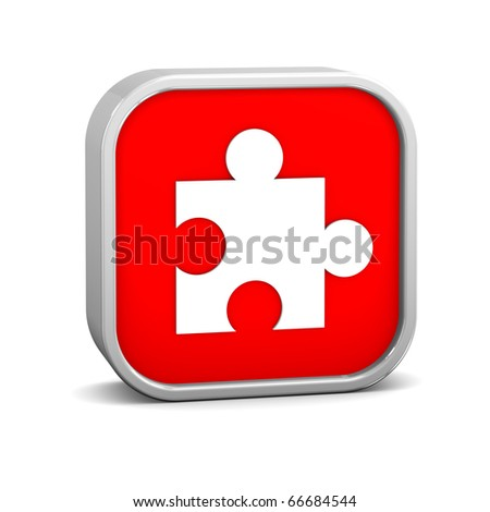 Puzzle sign on a white background. Part of a series. - stock photo