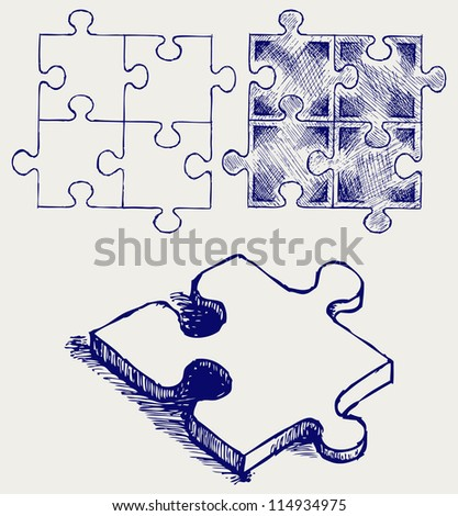 Puzzle sketch. Raster version - stock photo