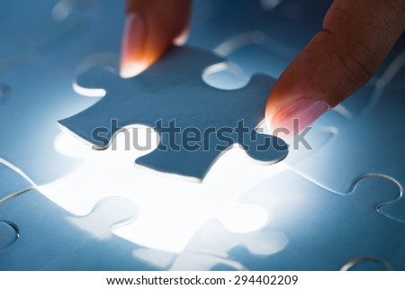 Puzzle, Solution, Success. - stock photo