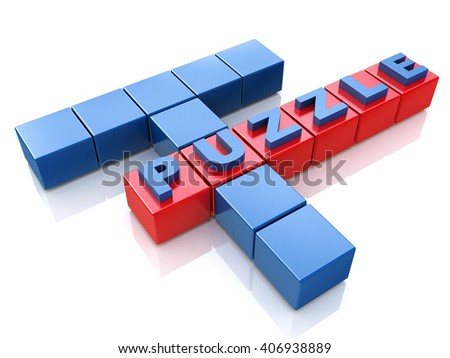 Puzzle solving problems.3D Illustration
