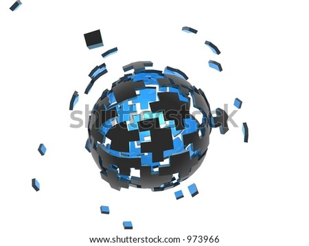 puzzle sphere (more action) - stock photo