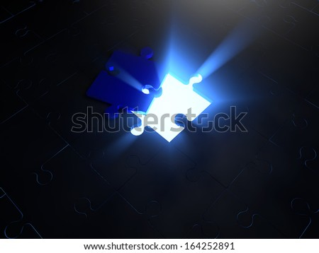 Puzzle tile over glowing puzzle tile whole - stock photo