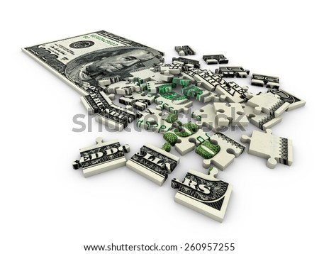 puzzle with a picture of a dollar bill on a white background - stock photo