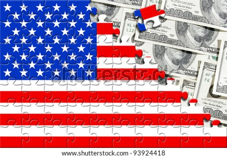 Puzzle with flag USA and numerous one hundred dollars banknotes. - stock photo