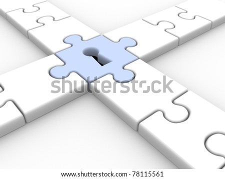 Puzzle with keyhole - This is a 3d render illustration - stock photo