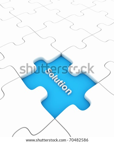 Puzzle with missing peice - stock photo