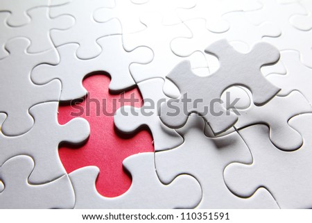 puzzle with missing piece - stock photo