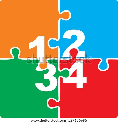 Puzzle with numbers and place for your text colors background. Raster version, vector file available in portfolio. - stock photo