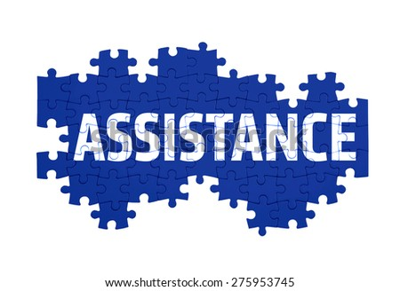 Puzzle with the  ASSISTANCE word  isolated on white  - stock photo