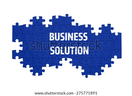 Puzzle with the BUSINESS SOLUTION word  isolated on white  - stock photo