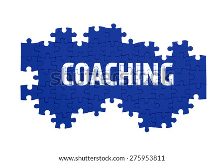 Puzzle with the  COACHING word  isolated on white  - stock photo