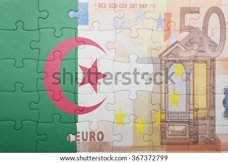 puzzle with the national flag of algeria and euro banknote . concept - stock photo