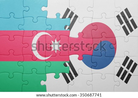 puzzle with the national flag of azerbaijan and south korea . concept