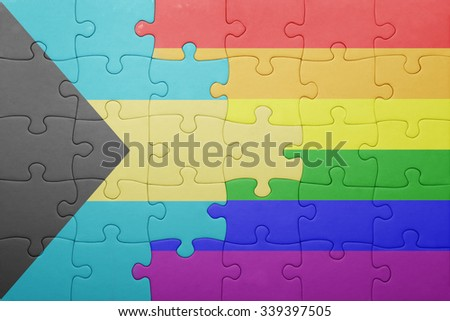 puzzle with the national flag of bahamas and gay flag.concept - stock photo