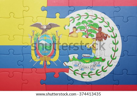 puzzle with the national flag of belize and  ecuador.concept