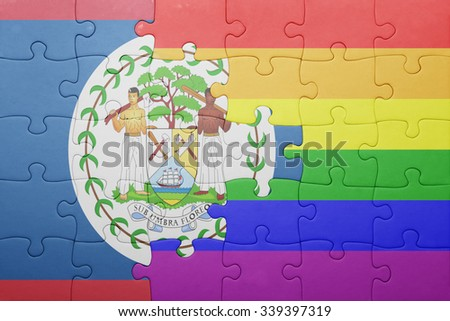 puzzle with the national flag of belize and gay flag.concept - stock photo