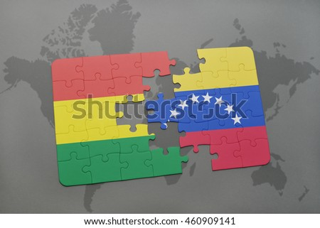 puzzle with the national flag of bolivia and venezuela on a world map background. 3D illustration