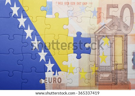 puzzle with the national flag of bosnia and herzegovina and euro banknote . concept - stock photo