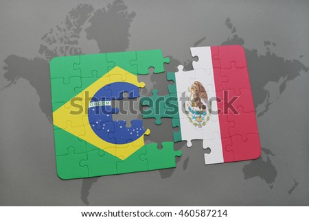Puzzle national flag brazil mexico on stock illustration 460587214 puzzle with the national flag of brazil and mexico on a world map background 3d gumiabroncs Choice Image
