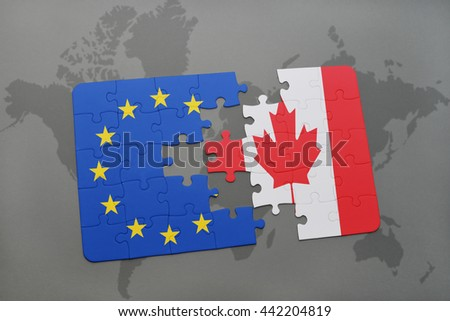 puzzle with the national flag of canada and european union on a world map - stock photo
