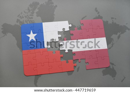 puzzle with the national flag of chile and latvia on a world map background. 3D illustration - stock photo