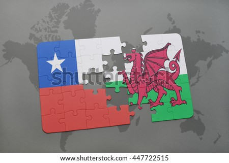 puzzle with the national flag of chile and wales on a world map background. 3D illustration - stock photo
