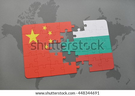 puzzle with the national flag of china and bulgaria on a world map background. 3D illustration - stock photo